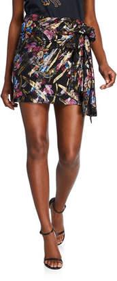 Pinko Floral Metallic Side-Tie Skirt