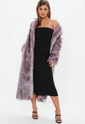 Missguided Pink Tipped Maxi Faux Fur Coat