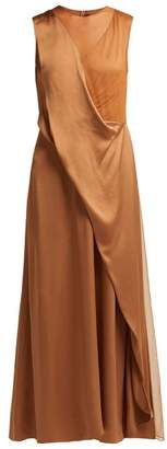 Sies Marjan - Leona Tulle Insert Satin Dress - Womens - Brown