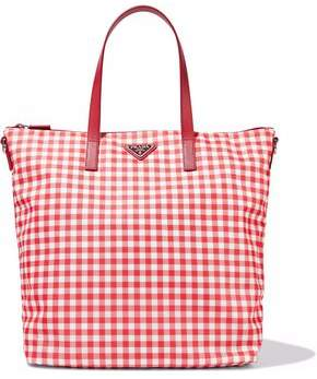 Prada Textured Leather-Trimmed Gingham Shell Tote