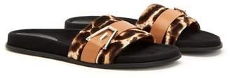Aquatalia Ilaria Genuine Calf Hair Buckle Slide Sandal