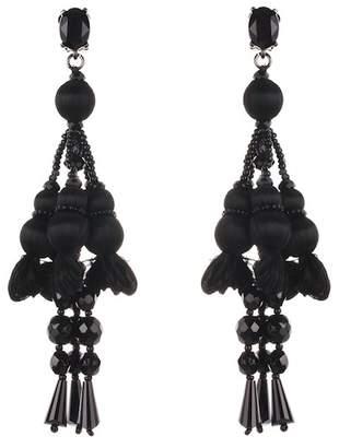 Oscar de la Renta Silk Pompom & Beaded Drop Clip On Earrings