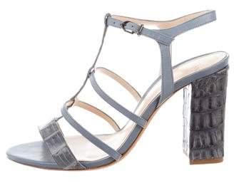 Alexandre Birman Alligator Ankle Strap Sandals
