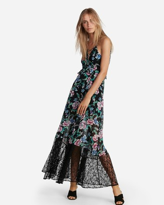 Express Floral Strappy Lace-Up Maxi Dress