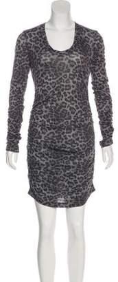 Rebecca Taylor Ruched Leopard Print Dress