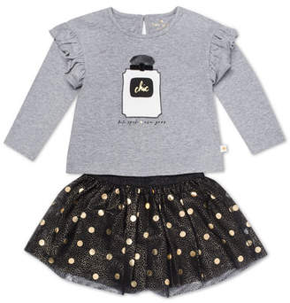 Kate Spade Chic Ruffle-Trim Top W/ Metallic Polka-Dot Skirt, Size 2-6x