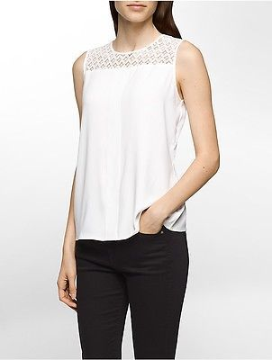 Calvin Klein Calvin Klein Womens Lace Yoke Sleeveless Top Shirt