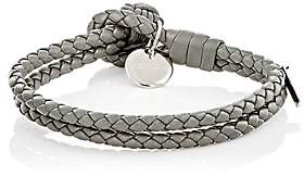 Bottega Veneta Men's Intrecciato Leather Double-Band Bracelet - Light Gray
