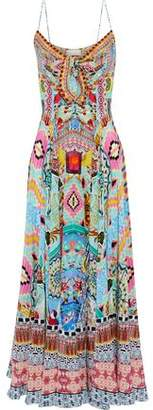 Camilla Heartbeats Drumbeats Tie-Front Printed Silk Maxi Dress
