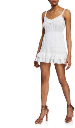 LoveShackFancy Tallulah Spaghetti-Strap Mini Dress w/ Lace & Pintuck Detail