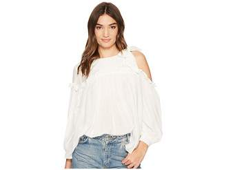 J.o.a. 3/4 Sleeve Single Side Cold Shoulder Top Women's Clothing