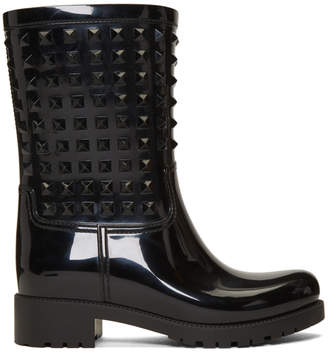 Valentino Black Garavani Tonal Rockstud Rain Boots