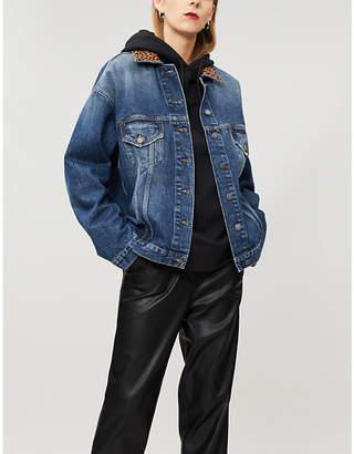 The Kooples Leopard-print collar denim jacket