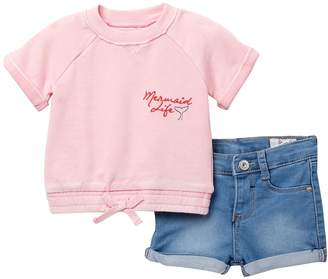 AG Jeans Overdyed French Terry Pullover & Shorts Set (Baby Girls)