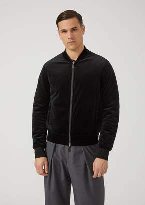 Emporio Armani Reversible Bomber In Velvet With Logo Motif