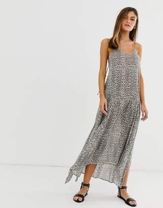 AllSaints Essie tie back midaxi slip dress in leopard