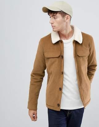 Farah Kingsland fleece lined jacket in tan