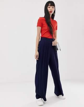 Asos Design DESIGN linen touch wide leg pants