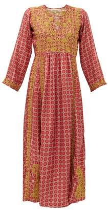Muzungu Sisters - Suzani Embroidered Silk Maxi Dress - Womens - Red Multi