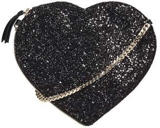 Anniel Heart Crossbody Black Glitter Bag