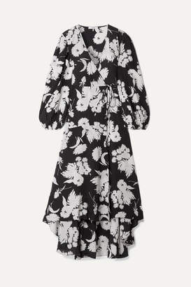 Ganni Floral-print Silk Crepe De Chine Wrap Dress - Black