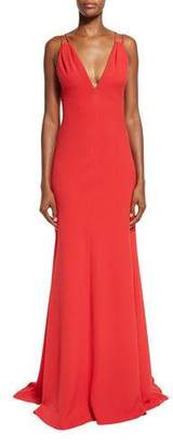 Carmen Marc Valvo Sleeveless Double-Strap Jersey Gown, Red $895 thestylecure.com