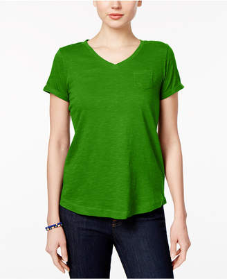 Style&Co. Style & Co Petite V-Neck Pocket T-Shirt, Created for Macy's