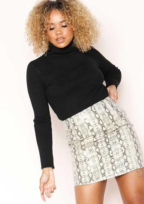 Missy Empire Missyempire Tameka Beige Snake Print Zip Mini Skirt