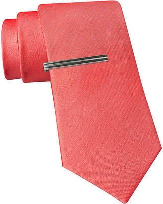 Jf J.Ferrar JF Slim Satin Tie and Tie Bar Set