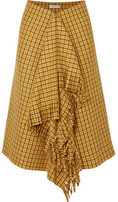 Balenciaga Fringed Checked Tweed Midi Skirt - Yellow