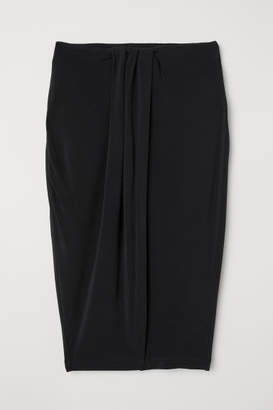H&M Short Wrap-front Skirt - Black