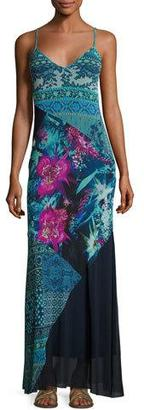Fuzzi Sleeveless Mixed-Print Patchwork Maxi Dress, Multi $495 thestylecure.com