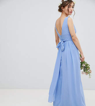 TFNC Petite Wrap Front Maxi Bridesmaid Dress With Tie Back