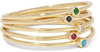 Jennifer Meyer Set Of Five 18-karat Gold Multi-stone Rings