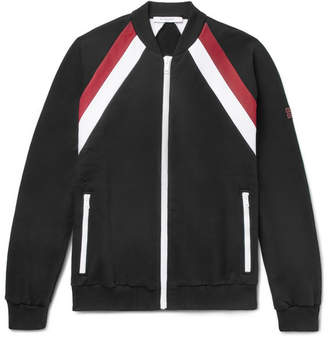 Givenchy Slim-Fit Striped Fleece-Back Cotton-Jersey Bomber Jacket - Black