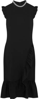Christopher Kane Chain-trimmed Ruffled Stretch-crepe Midi Dress - Black