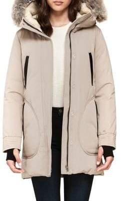 Soia & Kyo Saundra Coyote Fur-Trim Cotton-Blend Down-Filled Coat