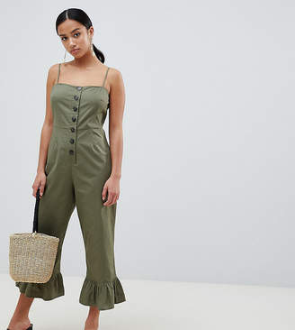 Asos DESIGN Petite cotton frill hem jumpsuit with square neck and button detail