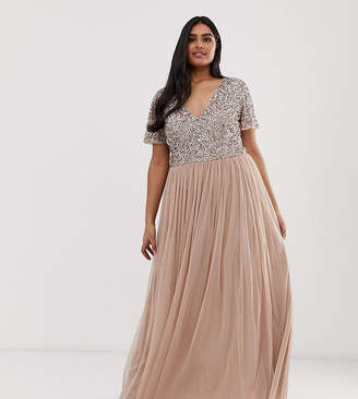 cede0f71a7 Maya Plus Bridesmaid v neck maxi tulle dress with tonal delicate sequins in  taupe blush