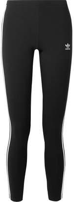 adidas Striped Cotton-blend Jersey Leggings - Black