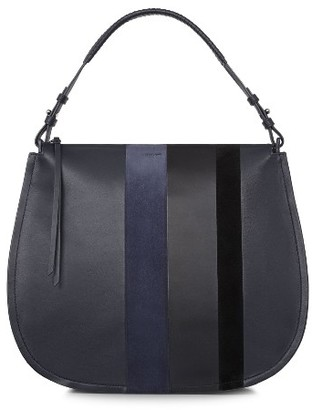 Allsaints Casey Calfskin Leather & Suede Hobo - Blue $348 thestylecure.com
