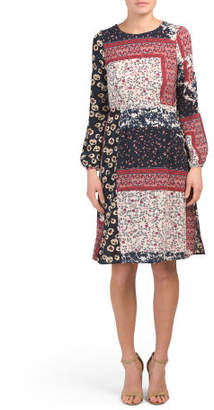 Juniors Long Sleeve Multi Placed Ditsy Floral Midi Dress