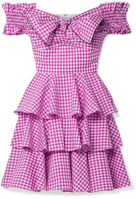 Caroline Constas Helena Off-the-shoulder Gingham Cotton-poplin Mini Dress