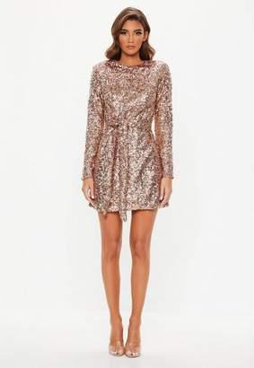 Missguided Gold Tie Waist Shift Dress
