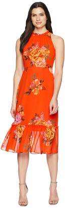 Donna Morgan Printed Chiffon Midi Dress with High Neck Women's Dress