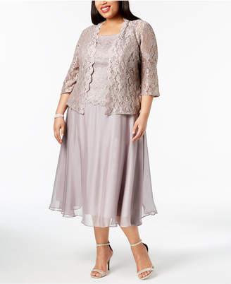 Alex Evenings Plus Size Glitter Lace Midi Dress & Jacket