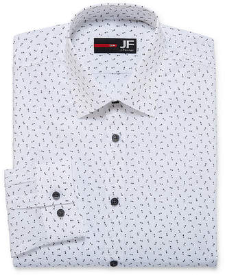 Jf J.Ferrar Easy Care Stretch Long Sleeve Woven Dots Dress Shirt