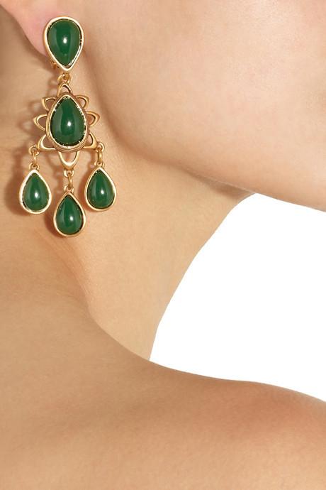 Oscar de la Renta Gold-plated cabochon clip earrings