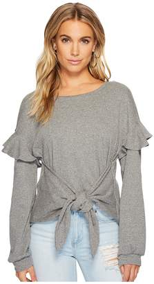 1 STATE 1.STATE Long Sleeve Tie Front Knit Top w/ Ruffle Sleeves Women's Clothing