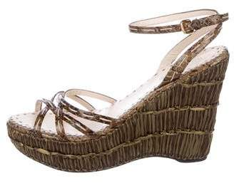 Prada Snakeskin Platform Wedge Sandals